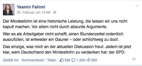 Yasmin Fahimi Facebook Mindestlohn