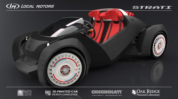 """Sieht aus wie ein Spielzeug,  aber ist ein mörderisches Konzept: Der """"Strati"""" von Local Motors kommt aus dem 3D-Drucker. Neue Technologien setzen deutsche Autokonzerne unter Druck"""