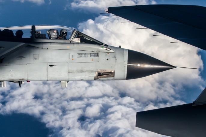 Tornado close up over the clouds