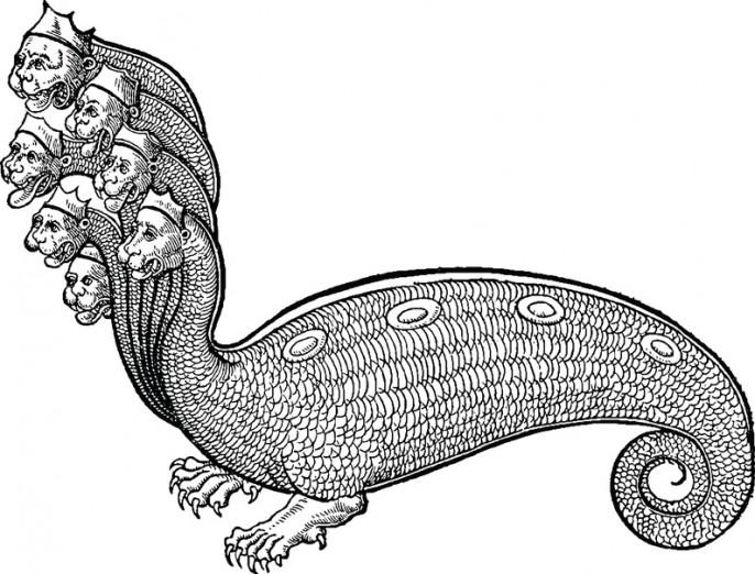 Antique drawing Mythological beast hydra