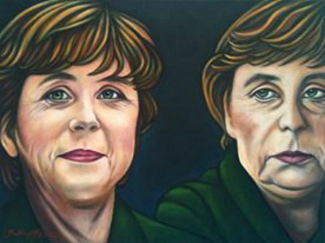 """Bettina Hagen  """"Angie oder die Frau mit den zwei Gesichtern""""  Acryl auf Leinwand - 60 x 80 - 2005/10"""