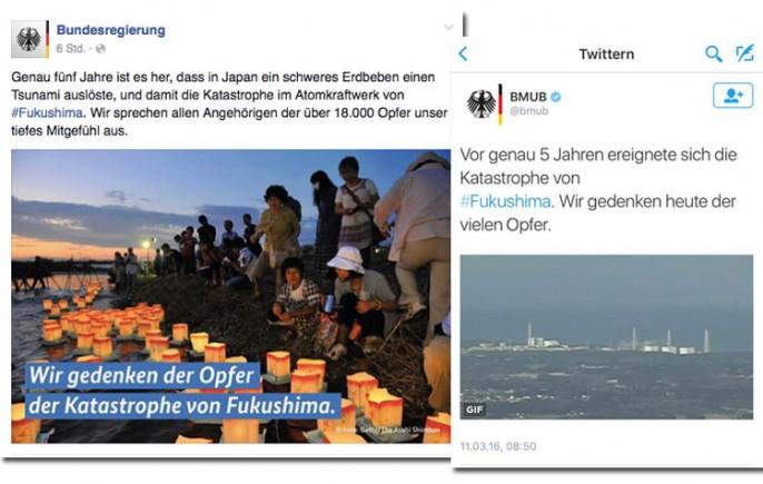 Screenshot: Bundesregierung (Facebook), BMUB (Twitter)