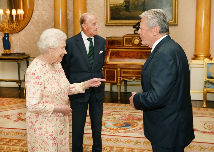 Queen Elizabeth II talks with the President of Germany, Joachim Gauck, during a private audience which was also attended by the Duke of Edinburgh at Buckingham Palace on June 1, 2016 in London.
