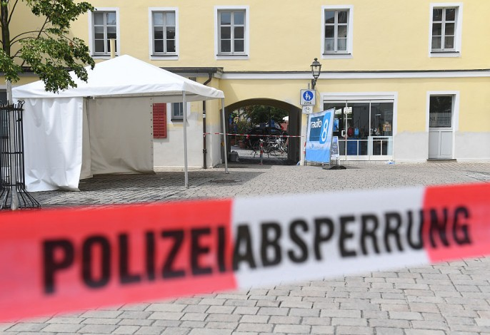 The entrance of a music festival where a suicide bomber blew himself up on Sunday, is seen on July 25, 2016 in Ansbach, Germany. According to police a 27-year-old Syrian, who had been denied asylum, blew himself up on Sunday evening after being turned away from an open-air music festival in Ansbach, southern Germany.
