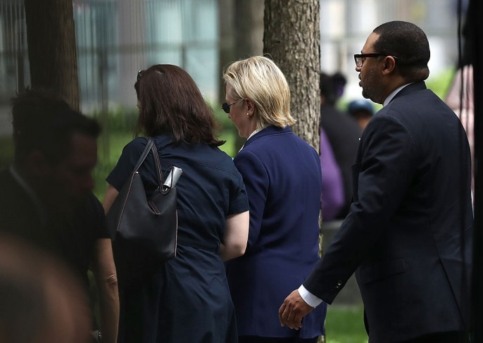 Democratic presidental nominee former Secretary of State Hillary Clinton leaves the September 11 Commemoration Ceremony at the National September 11 Memorial Museum on September 11, 2016 in New York City.