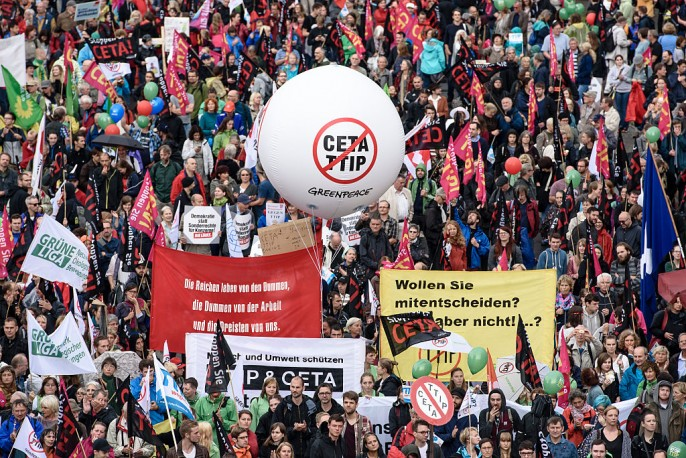 Protesters gather to demonstrate against the TTIP and CETA free trade agreements on September 17, 2016 in Berlin, Germany. The European Union is currently negotiating with the United States over TTIP and Canada over CETA and details of the agreements have proved controversial across Europe.