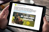 """Die Grünen bewerben ihren """"echten Zukunftsplan"""" mit einer Rikscha"""